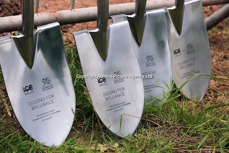 Pictured: The commemorative spades used for the ground braking. Friday 23 June 2017<br />Re: First Minister for Wales Carwyn Jones has joined Sir Terry Matthews, Chairman of the Celtic Manor Resort; Stephen Bowcott, Chief Executive of Sisk Group Construction; and Debbie Wilcox, Leader of Newport City Council, to break ground on the site of the new ICC Wales.<br />Around 80 invited guests from the public and private sectors of the events industry have also witnessed the ground breaking ceremony which marks the official start of the construction of the new venue, due to open in 2019.<br />The dignitaries will use commemorative spades to symbolically dig the first ground on the new site, marking the start of building work in earnest.