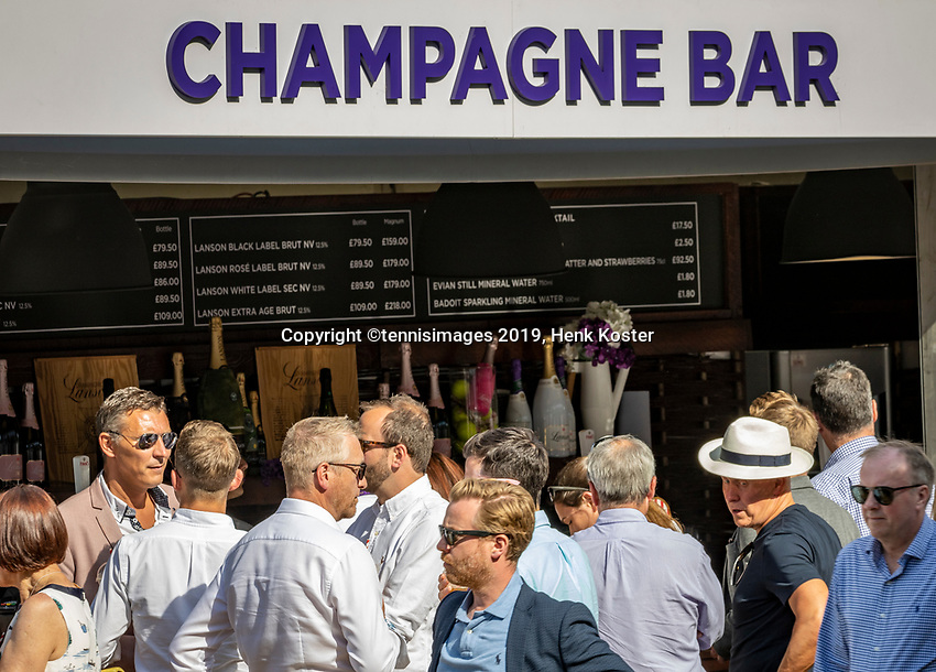 London, England, 3 July, 2019, Tennis,  Wimbledon, Ambiance, champagne bar<br /> Photo: Henk Koster/tennisimages.com