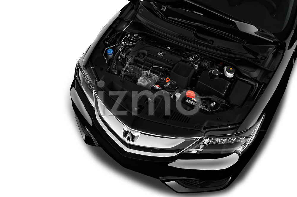 Car stock 2018 Acura ILX Technology Plus 4 Door Sedan engine high angle detail view