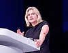 Conservative Party Conference<br /> Manchester, Great Britain <br /> 4th October 2015 <br /> Day 1<br /> <br /> Justine Greening MP<br /> <br /> <br /> <br /> <br /> Photograph by Elliott Franks <br /> Image licensed to Elliott Franks Photography Services