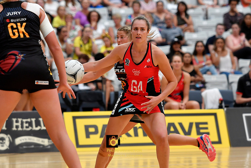 Tactix&rsquo; Brooke Leaver in action during the Preseason Tournament - Tactix v Magic at Ngā  Purapura, Otaki, New Zealand on Saturday 9 February  2019. <br /> Photo by Masanori Udagawa. <br /> www.photowellington.photoshelter.com