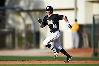 Pittsburgh Panthers second baseman Alex Amos (14) running the bases during a game against the Siena Saints on February 24, 2017 at Historic Dodgertown in Vero Beach, Florida.  Pittsburgh defeated Siena 8-2.  (Mike Janes/Four Seam Images)