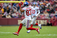 Landover, MD - December 9, 2018: New York Giants wide receiver Sterling Shepard (87) catches a pass from New York Giants quarterback Eli Manning (10) during game between the New York Giants and Washington Redskins at FedEx Field in Landover, MD. The Giants defeated the Redskins 40-16 dropping the Redskins to 6-7 on the season. (Photo by Phillip Peters/Media Images International)
