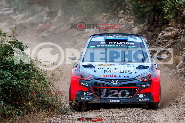 Kevin Abbring/Sebastian Marshall (Hyundai i20 WRC) during the World Rally Car RACC Catalunya Costa Dourada 2016 / Rally Spain, in Catalunya, Spain. October 15, 2016. (ALTERPHOTOS/Rodrigo Jimenez) NORTEPHOTO.COM