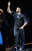 "Josh Hairston is all smiles as he enters Cameron Indoor Stadium. Duke men's basketball had an opening scrimmage game as a part of the ""Countdown to Craziness"" event at Cameron Indoor Stadium Friday Oct. 14, 2011.  Photo by Al Drago..."