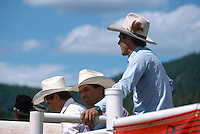 Cowboys standing at a Fence behind the Chutes and watching a Rodeo (No Model Release Available)