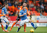 Dundee United v St Johnstone....21.11.15  SPFL,  Tannadice, Dundee<br /> Chris Kane is fouled by John Souttar<br /> Picture by Graeme Hart.<br /> Copyright Perthshire Picture Agency<br /> Tel: 01738 623350  Mobile: 07990 594431