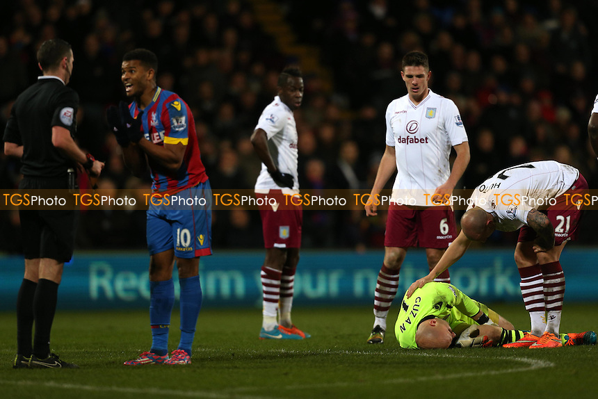 Frazier Campbell of Crystal Palace pleaded withe referee Michael Oliver before getting booked for a challenge on Brad Guzan of Aston Villa - Crystal Palace vs Aston Villa - Barclays Premier League Football at Selhurst Park, London - 02/12/14 - MANDATORY CREDIT: Simon Roe/TGSPHOTO - Self billing applies where appropriate - contact@tgsphoto.co.uk - NO UNPAID USE