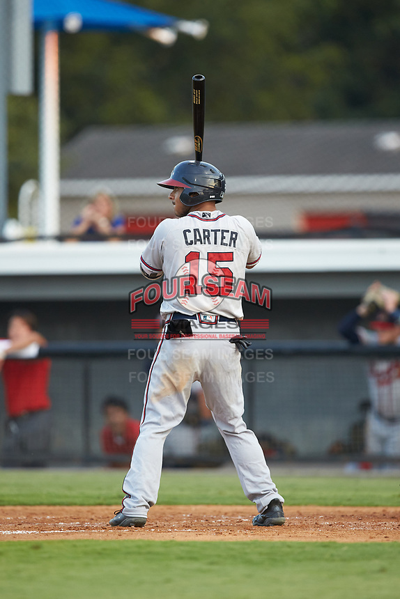 Willie Carter (15) of the Danville Braves at bat against the Burlington Royals at Burlington Athletic Stadium on August 9, 2019 in Burlington, North Carolina. The Royals defeated the Braves 6-0. (Brian Westerholt/Four Seam Images)