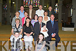 BABY: Baby Ellie Kate (Listellick) with his parents Mary and John Clifford after her christening in St John's Church, Tralee on Sunday. Front Dara and Molly Clifford. Seated l-r: helen O'Donnell, Mary Baby Ellie Kate and John Clifford and Michael Lawlor. centre l-r: Margaret O'Donnell, Mary Cliffortd, Sinead O'Donnell and Maggie Reeves. Back l-r: John Clifford, Eamon Hickey, Rev Tom Pierse and Mon James Pierse..