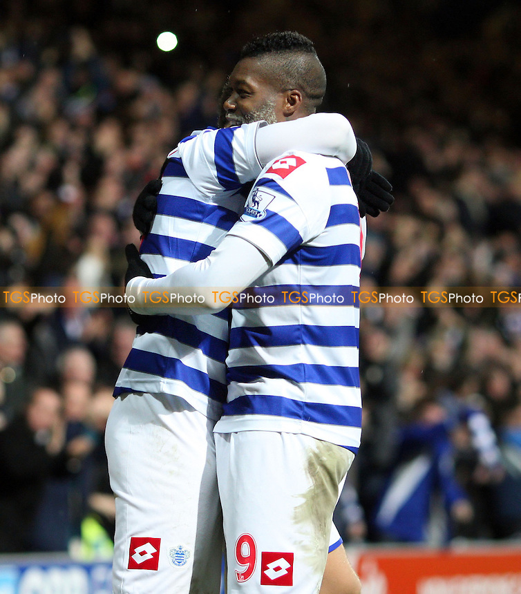 Adel Taarabt is congratulated by Djibril Cisse after scoring for QPR - Queens Park Rangers vs Fulham, Barclays Premier League at Loftus Road, London - 15/12/12 - MANDATORY CREDIT: Rob Newell/TGSPHOTO - Self billing applies where appropriate - 0845 094 6026 - contact@tgsphoto.co.uk - NO UNPAID USE.