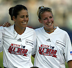 19 June 2003: San Diego Spirit players Julie Foudy (left) and Aly Wagner (right) played for the WUSA American Stars. The WUSA World Stars defeated the WUSA American Stars 3-2 in the WUSA All-Star Game held at SAS Stadium in Cary, NC.