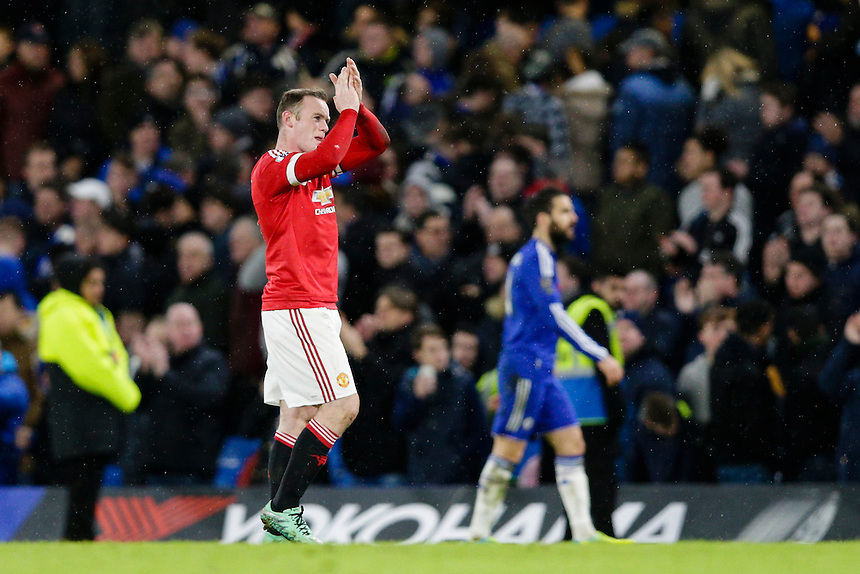 Manchester United's Wayne Rooney applauds the away fans at full time<br /> <br /> Photographer Craig Mercer/CameraSport<br /> <br /> Football - Barclays Premiership - Chelsea v Manchester United - Sunday 7th February 2016 - Stamford Bridge - London<br /> <br /> &copy; CameraSport - 43 Linden Ave. Countesthorpe. Leicester. England. LE8 5PG - Tel: +44 (0) 116 277 4147 - admin@camerasport.com - www.camerasport.com