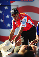Sept. 6, 2010; Clermont, IN, USA; NHRA pro stock motorcycle rider Hector Arana during driver introductions prior to the U.S. Nationals at O'Reilly Raceway Park at Indianapolis. Mandatory Credit: Mark J. Rebilas-