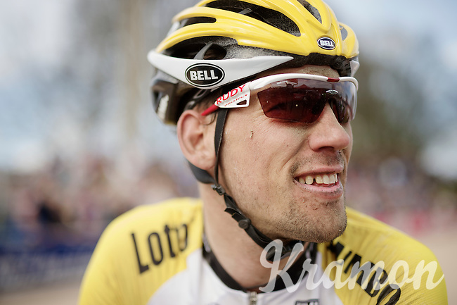 Maarten Tjallingii's (NLD/LottoNL-Jumbo) post-race face<br /> <br /> 113th Paris-Roubaix 2015