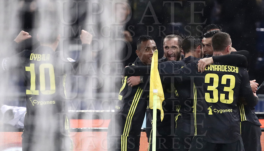 Football, Serie A: S.S. Lazio - Juventus, Olympic stadium, Rome, January 27, 2019. <br /> Juventus' Cristiano Ronaldo (second from right) celebrates after scoring with his teammates during the Italian Serie A football match between S.S. Lazio and Juventus at Rome's Olympic stadium, Rome on January 27, 2019.<br /> UPDATE IMAGES PRESS/Isabella Bonotto