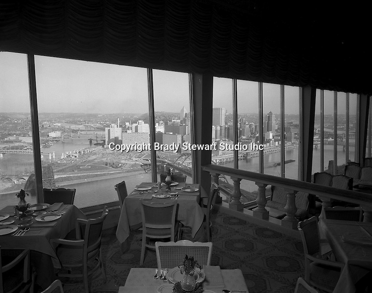 Pittsburgh PA:  View of the Pittsburgh skyline from the LaMont Restaurant on Mount Washington - 1962