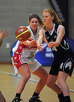 Action from the 2015 Women's Basketball Championship match between the Canterbury Wildcats and Auckland Counties Manukau Lady Hawks at Te Rauparaha Arena, Porirua, Wellington, New Zealand on Thursday, 4 June 2015. Photo: Dave Lintott / lintottphoto.co.nz