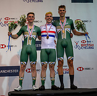 26th January 2020; National Cycling Centre, Manchester, Lancashire, England; HSBC British Cycling Track Championships; Men's scratch medallists from L to R Matt Rushby Team Inspired silver, Rhys Britton Team inspired gold, Ethan Vernon Team Inspired bronze