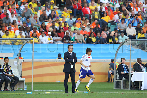 (L-R) cj/Takeshi Okada,  and hunsuke Nakamura (JPN), .JUNE 19, 2010 - Football : .2010 FIFA World Cup South Africa .Group Match -Group E- .between Netherlands 1-0 Japan .at Durban Stadium, Durban, South Africa. .
