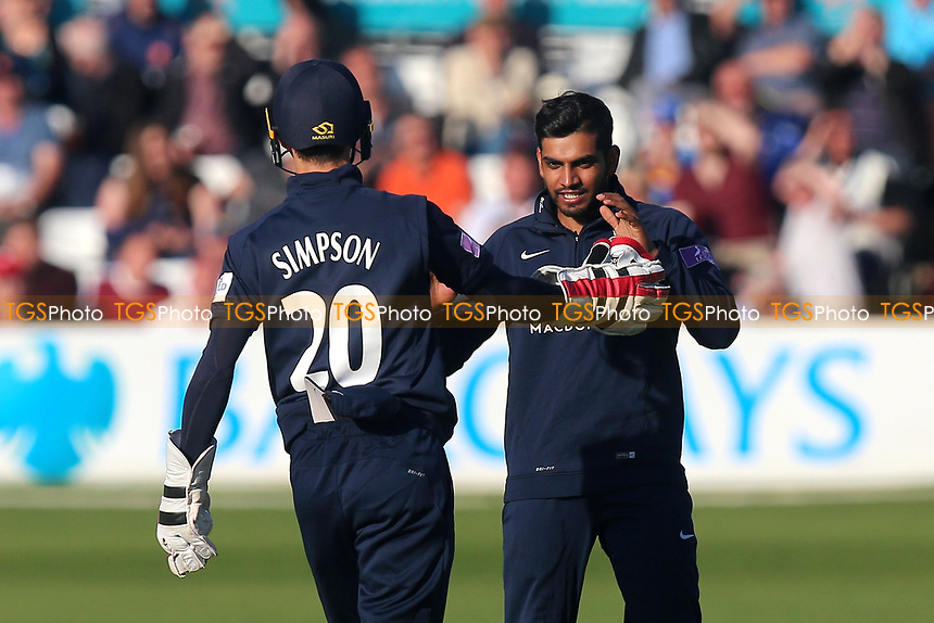 Ravi Patel of Middlesex celebrates taking the wicket of Varun Chopra during Essex Eagles vs Middlesex, Royal London One-Day Cup Cricket at The Cloudfm County Ground on 12th May 2017