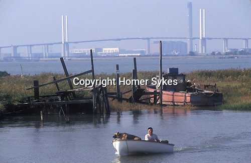 Swanscombe Peninsula North Kent Borough of Dartford UK. 1990s. Broadness Creek. Dartford Bridge in distance.