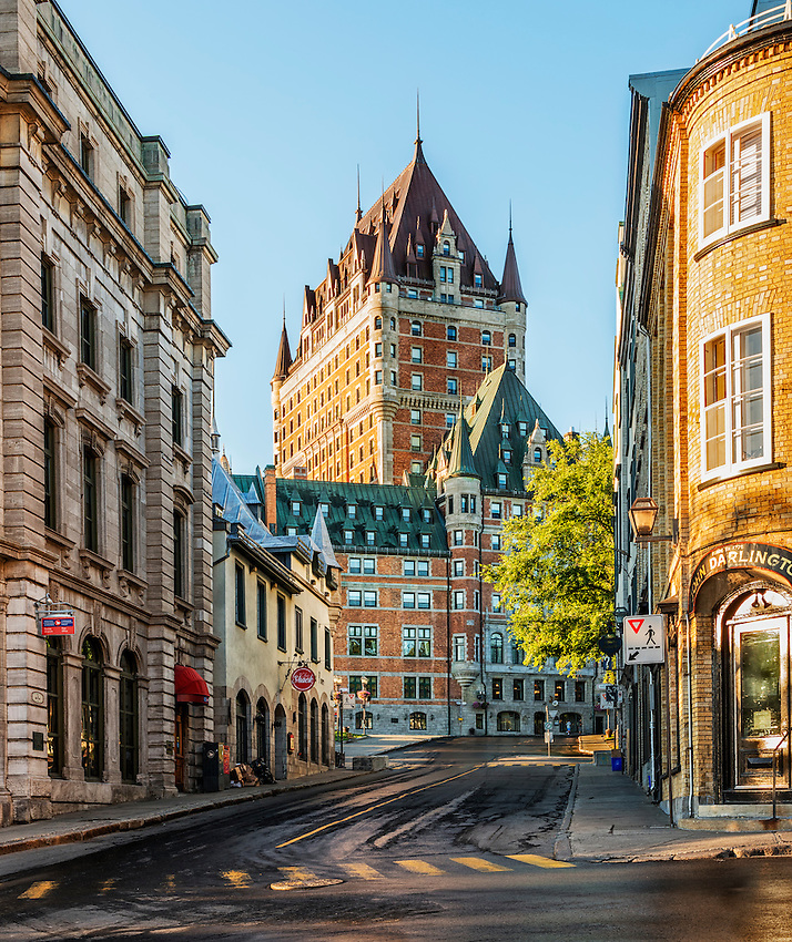 View of the Château Frontenac Hotel down the Rue du Fort, Quebec City, at sunrise
