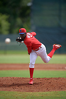 GCL Phillies West pitcher Juan Miranda (71) during a Gulf Coast League game against the GCL Yankees East on August 3, 2019 at the Carpenter Complex in Clearwater, Florida.  The GCL Phillies West defeated the GCL Yankees East 15-7 in a completion of a game that was originally started on July 26, 2019.  (Mike Janes/Four Seam Images)