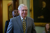 United States Senate Majority Leader Mitch McConnell (Republican of Kentucky) leaves the Senate Chamber during a dinner break in the impeachment trial of United States President Donald J. Trump at the United States Capitol in Washington D.C., U.S., on Monday, January 27, 2020.<br />  <br /> Credit: Stefani Reynolds / CNP