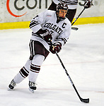 3 January 2009: Colgate Raiders' defenseman and Team Captain Nick St. Pierre, a Senior from St. Etienne, Quebec, in action against the Ferris State Bulldogs during the consolation game of the 2009 Catamount Cup Ice Hockey Tournament hosted by the University of Vermont at Gutterson Fieldhouse in Burlington, Vermont. The two teams battled to a 3-3 draw, with the Bulldogs winning a post-game shootout 2-1, thus placing them third in the tournament...Mandatory Photo Credit: Ed Wolfstein Photo