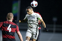 CARY, NC - DECEMBER 13: Derek Dodson #9 of Georgetown University heads the ball during a game between Stanford and Georgetown at Sahlen's Stadium at WakeMed Soccer Park on December 13, 2019 in Cary, North Carolina.