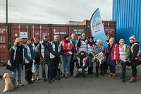 Trade Union volunteers in Calais helping NGO Care 4 Calais assist refugees sleeping rough around the port. The action was organised by Stand Up To Racism. 9-12-17