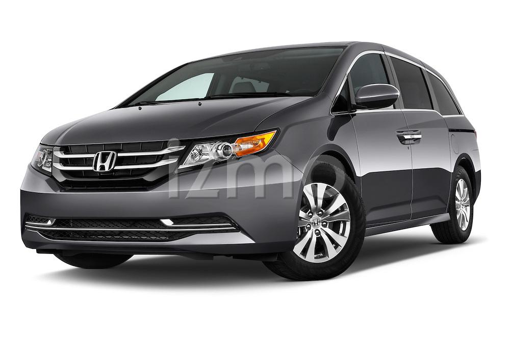 Low aggressive front three quarter view of a 2014 Honda Odyssey EX-L
