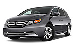 Low aggressive front three quarter view of a 2014 Honda Odyssey EX-L