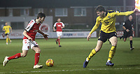 Fleetwood Town's Ashley Nadesan looks to take on Oxford United's Rob Dickie<br /> <br /> Photographer Rich Linley/CameraSport<br /> <br /> The EFL Sky Bet League One - Fleetwood Town v Oxford United - Saturday 12th January 2019 - Highbury Stadium - Fleetwood<br /> <br /> World Copyright &copy; 2019 CameraSport. All rights reserved. 43 Linden Ave. Countesthorpe. Leicester. England. LE8 5PG - Tel: +44 (0) 116 277 4147 - admin@camerasport.com - www.camerasport.com