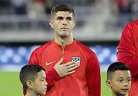 WASHINGTON, D.C. - OCTOBER 11: Christian Pulisic #10 of the United States during the national anthem prior to their Nations League game versus Cuba at Audi Field, on October 11, 2019 in Washington D.C.