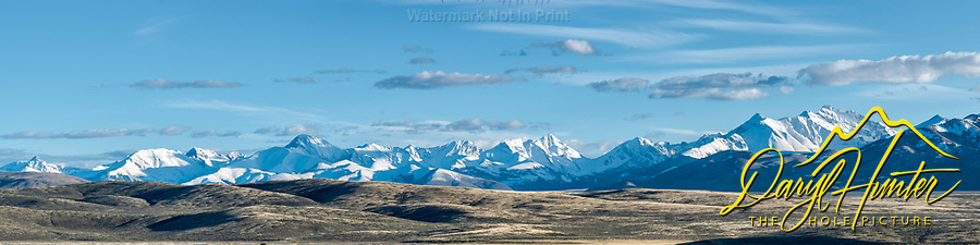 Lost River Range Panorama. Sweet evening light lit up the snowy peaks.  As seen from the Little Lost River Highway west of Howe Idaho.  <br />
