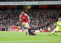 Olivier Giroud of Arsenal sees his shot blocked during the Premier League match between Arsenal and Huddersfield Town at the Emirates Stadium, London, England on 29 November 2017. Photo by Carlton Myrie / PRiME Media Images.