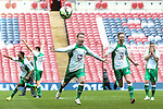 LONDON, ENGLAND - MARCH 29: North Ferriby United players celebrate victory over Wrexham in a penalty shoot out after the FA Carlsberg Trophy between North Ferriby United and Wrexham at Wembley Stadium, London<br /> Picture by David Horn/eXtreme aperture photography +44 7545 970036<br /> 28/03/2015