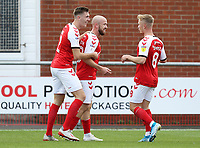 Fleetwood Town's Paddy Madden (Ctr) celebrates with team-mates Jimmy Dunne (left) and Kyle Dempsey after scoring the opening goal  <br /> <br /> Photographer Rich Linley/CameraSport<br /> <br /> The EFL Sky Bet League One - Fleetwood Town v Oxford United - Saturday 7th September 2019 - Highbury Stadium - Fleetwood<br /> <br /> World Copyright © 2019 CameraSport. All rights reserved. 43 Linden Ave. Countesthorpe. Leicester. England. LE8 5PG - Tel: +44 (0) 116 277 4147 - admin@camerasport.com - www.camerasport.com
