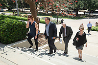 """Walk across campus from the Cushman Board Room to Choi Auditorium.<br /> Tal Becker, one of Israel's top peace negotiators and senior fellow at the Shalom Hartman Institute in Jerusalem, spoke on April 24, 2018 as Occidental College's 2018 Jack Kemp '57 Distinguished Lecturer. Becker spoke about """"The Israeli-Palestinian Conflict in Jewish Discourse: Identity, Justice and Religion"""" in Choi Auditorium.<br /> (Photo by Marc Campos, Occidental College Photographer)"""