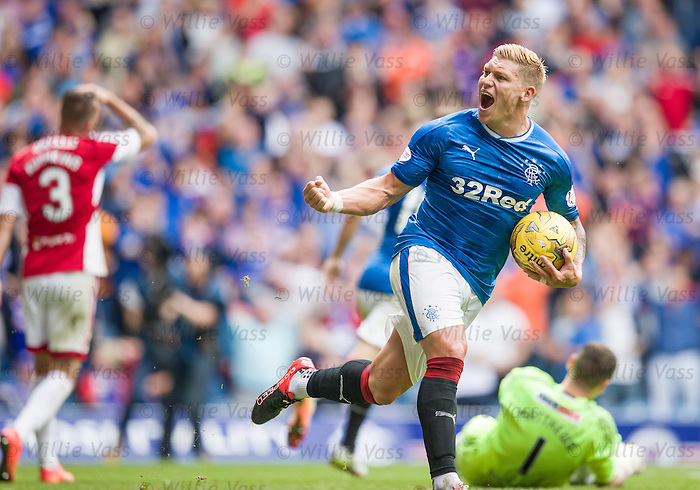 Martyn Waghorn scores for Rangers and celebrates