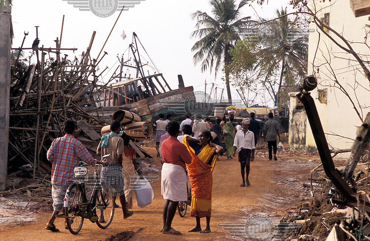 A scene of destruction in the aftermath of the tsunami which struck South Asia on 26/12/2004..An underwater earthquake measuring 9 on the Richter scale triggered a series of tidal waves which caused devastation when they struck dry land. 12 countries were affected by the tsunami, with a combined death toll of over 150,000.