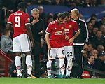 Jose Mourinho, manager of Manchester United talks to his players during the Champions League Group A match at the Old Trafford Stadium, Manchester. Picture date: September 12th 2017. Picture credit should read: Andrew Yates/Sportimage
