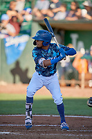 Jeremy Arocho (8) of the Ogden Raptors at bat against the Rocky Mountain Vibes at Lindquist Field on July 19, 2019 in Ogden, Utah. The Raptors defeated the Vibes 9-5. (Stephen Smith/Four Seam Images)