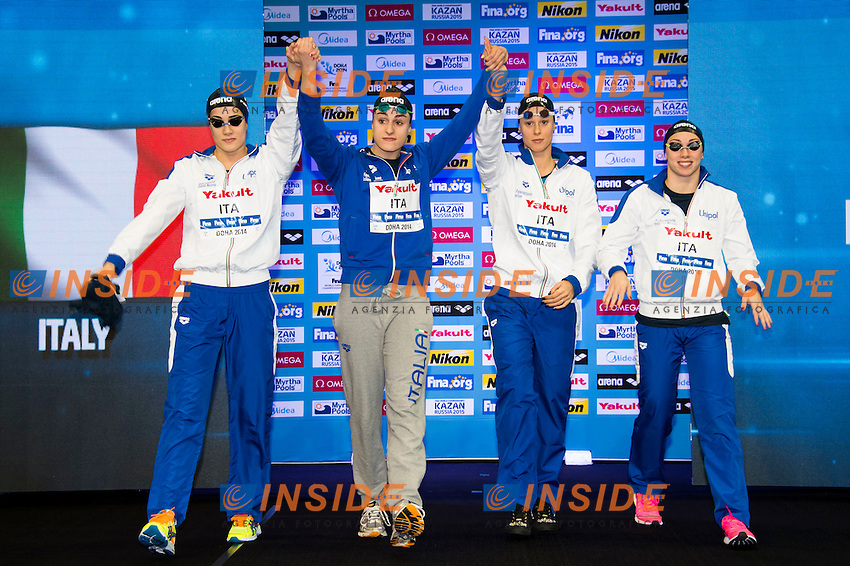 Italy Bronze Medal<br /> Women's 4x100m Freestyle Final<br /> Doha Qatar 05-12-2014 Hamad Aquatic Centre, 12th FINA World Swimming Championships (25m). Nuoto Campionati mondiali di nuoto in vasca corta.<br /> Photo Giorgio Scala/Deepbluemedia/Insidefoto