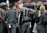 Ohio State Buckeyes head coach Urban Meyer talks to his special teams unit during the second quarter of the NCAA football game between the Ohio State Buckeyes and the Penn State Nittany Lions at Ohio Stadium on Saturday, October 28, 2017. [Jonathan Quilter/Dispatch]