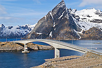 A bridge spanning the small islands of Toppoya and Hamnoya, Lofoten Islands, Norway