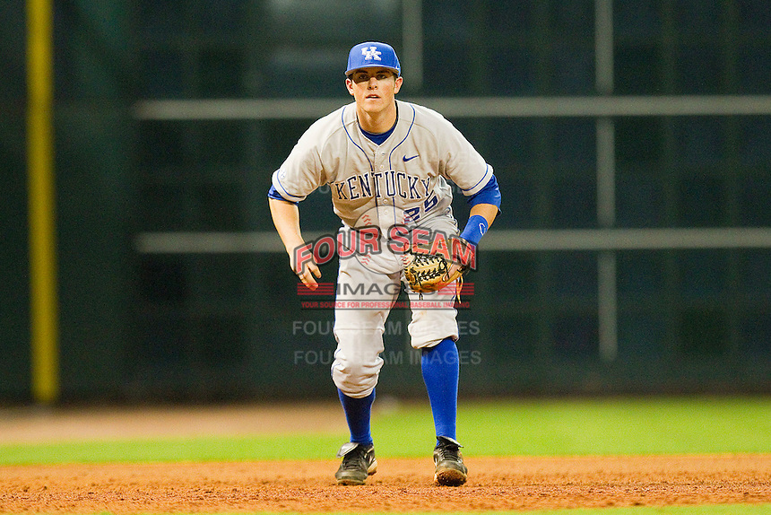 Third baseman Thomas McCarthy #25 of the Kentucky Wildcats on defense against the Rice Owls at Minute Maid Park on March 4, 2011 in Houston, Texas.  Photo by Brian Westerholt / Four Seam Images