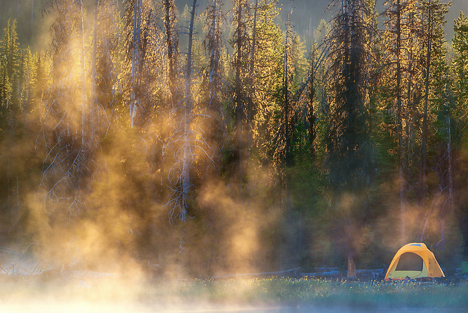First morning light reflected on the mist near a lone campsite on Sparks Lake.